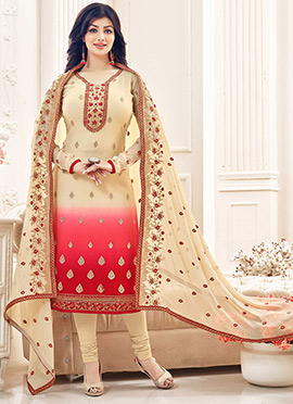 Ayesha Takia Cream N Red Churidar Suit