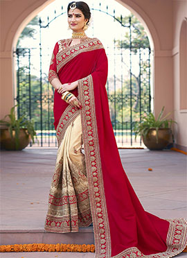 Cream N Red Half N Half Saree