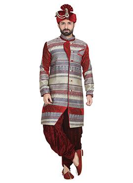 Cream N Red Jacquard Patiala Style Sherwani