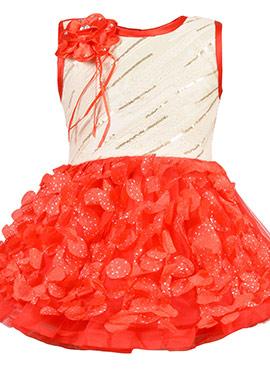 Cream N Red Net Kids Dress