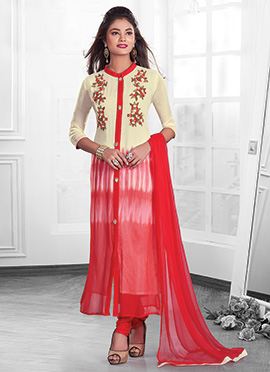 Cream N Red Ombre Chiffon Straight Suit