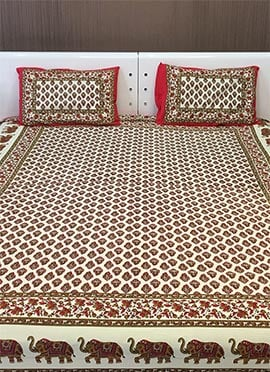 Cream N Red Pure Cotton Bed Sheet