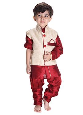 Cream N Red Silk Cotton Kids Bandi Set