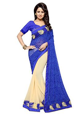 Cream N Royal blue Half N Half Saree