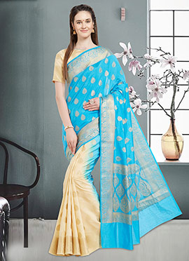 Cream N Sky Blue Art Benarasi Silk Half N Half Saree