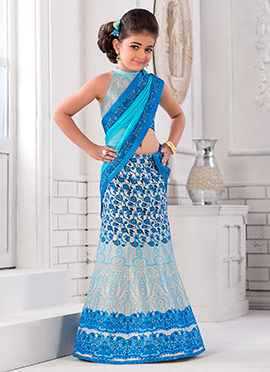 Blue Art Silk Kids Lehenga
