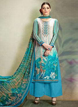 Cream N Sky Blue Cotton Palazzo Suit