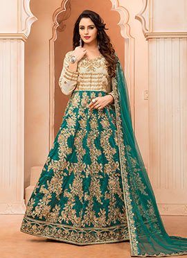Cream N Teal Green Art silk Anarkali Suit