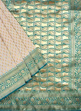 Cream N Teal Green Benarasi Pure Silk Saree