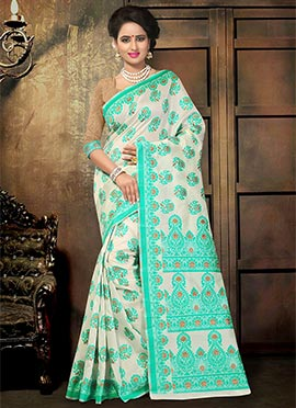 Cream N Turquoise Blended Cotton Saree