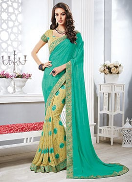 Cream N Turquoise Green Half N Half Saree