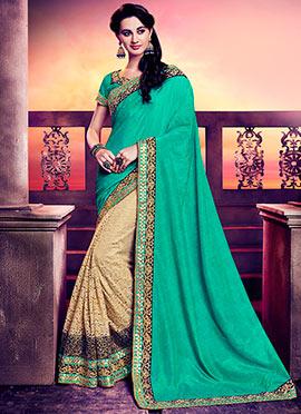 Cream N Turquoise Green Half N Half Saree