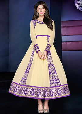 Cream N Violet Ankle Length Anarkali Suit