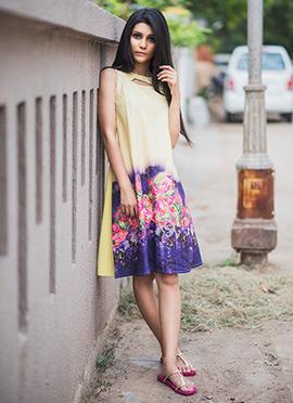 Cream N Violet Crepe Dress