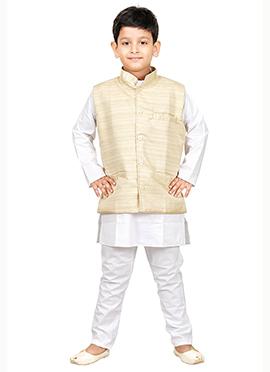 Cream N White Kurta Pyjama