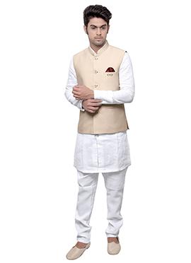 Cream N White Linen Bandi Set