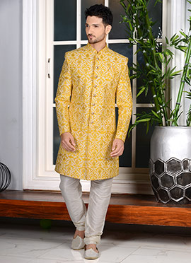 Cream N Yellow Art Silk Indowestern Sherwani