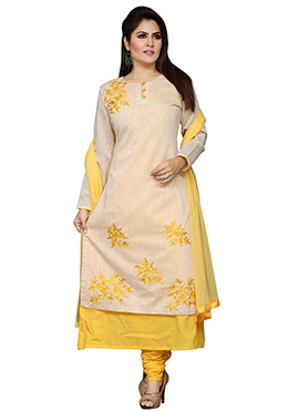 Cream N Yellow Blended Cotton Churidar Suit
