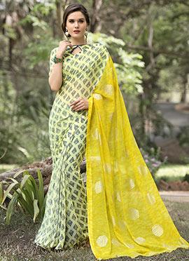 Cream N Yellow Chiffon Printed Saree
