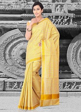 Cream N Yellow Cotton Saree