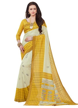 Cream N Yellow Dhaki Silk Saree
