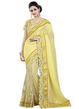 Cream N Yellow Half N Half Saree
