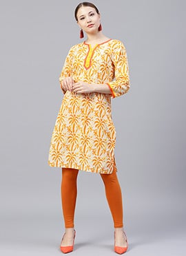 Cream N Yellow Printed Kurti