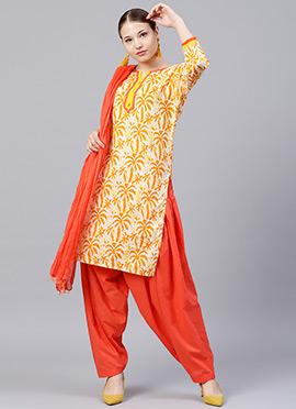 Cream N Yellow Printed Salwar Suit
