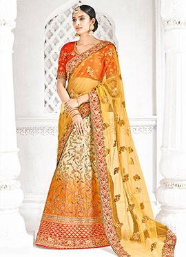 Cream N Yellow Satin A Line Lehenga