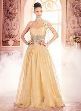 Cream Net Anarkali Gown