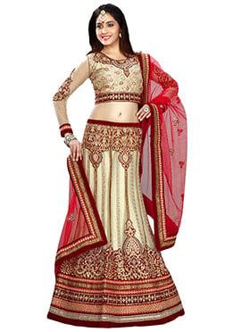 Cream Net Embellished Lehenga Choli