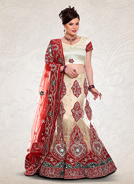 Cream Net Fish Cut Lehenga Choli