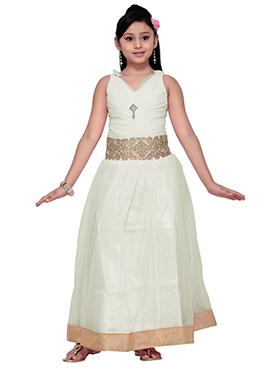 Cream Net Kids Anarkali Gown