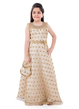 Cream Net Kids Anarkali Gown