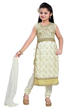 Cream Net Kids Churidar Suit