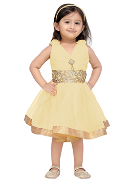 Cream Net Kids Dress