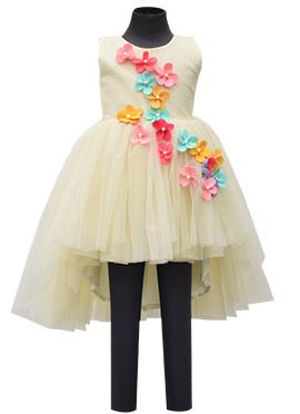 Fayon Cream Net Kids High Low Dress