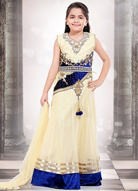 Cream Net Kids Lehenga