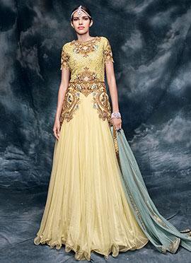 Cream Net N Art Silk Floor Length Anarkali Suit