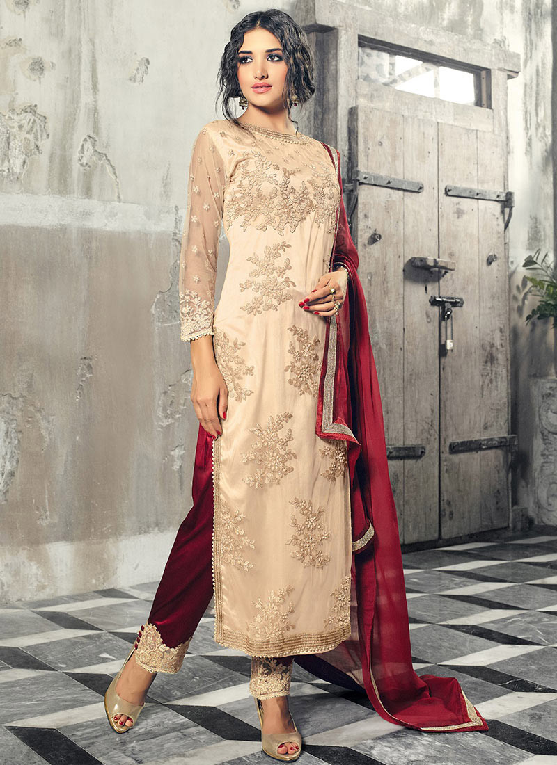 Buy Cream Net Straight Pant Suit Embroidered Straight