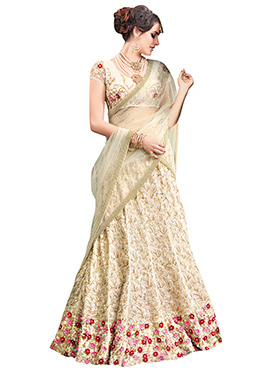 Cream Net Umbrella Lehenga