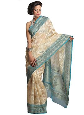 Cream Net Zari Weaved Foliage Designed Saree