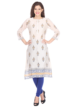 Cream Nika Chanderi Block Printed Kurti