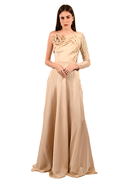 Cream One Shoulder gown