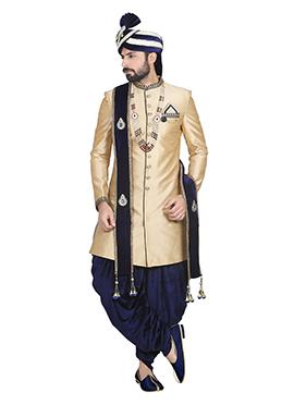 Cream Patiala Style Sherwani