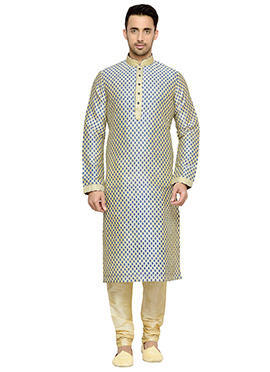 Cream Printed Art Dupion Silk Kurta Pyjama