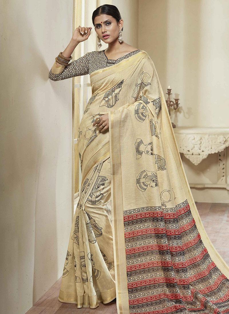8a502afe45 Buy Cream Printed Art Silk Saree, Printed, sari Online Shopping ...