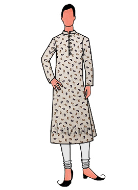 Cream Printed Cotton Linen Kurta Pyjama
