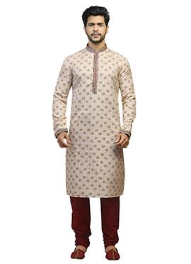 Cream Printed Kurta Pyjama