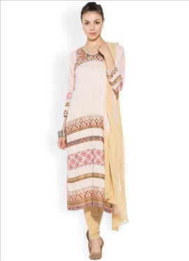 Light Peach Printed Plus Size Churidar Suit